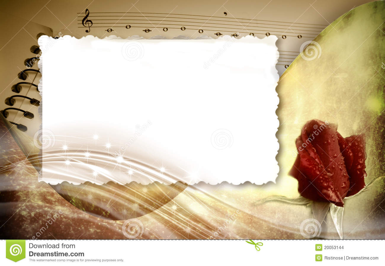 romantic musical background with frame stock photo