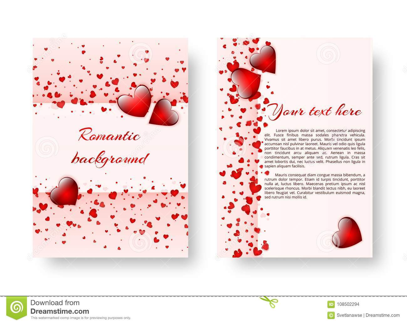 Romantic Pamphlet With Red Hearts Stock Vector Illustration Of