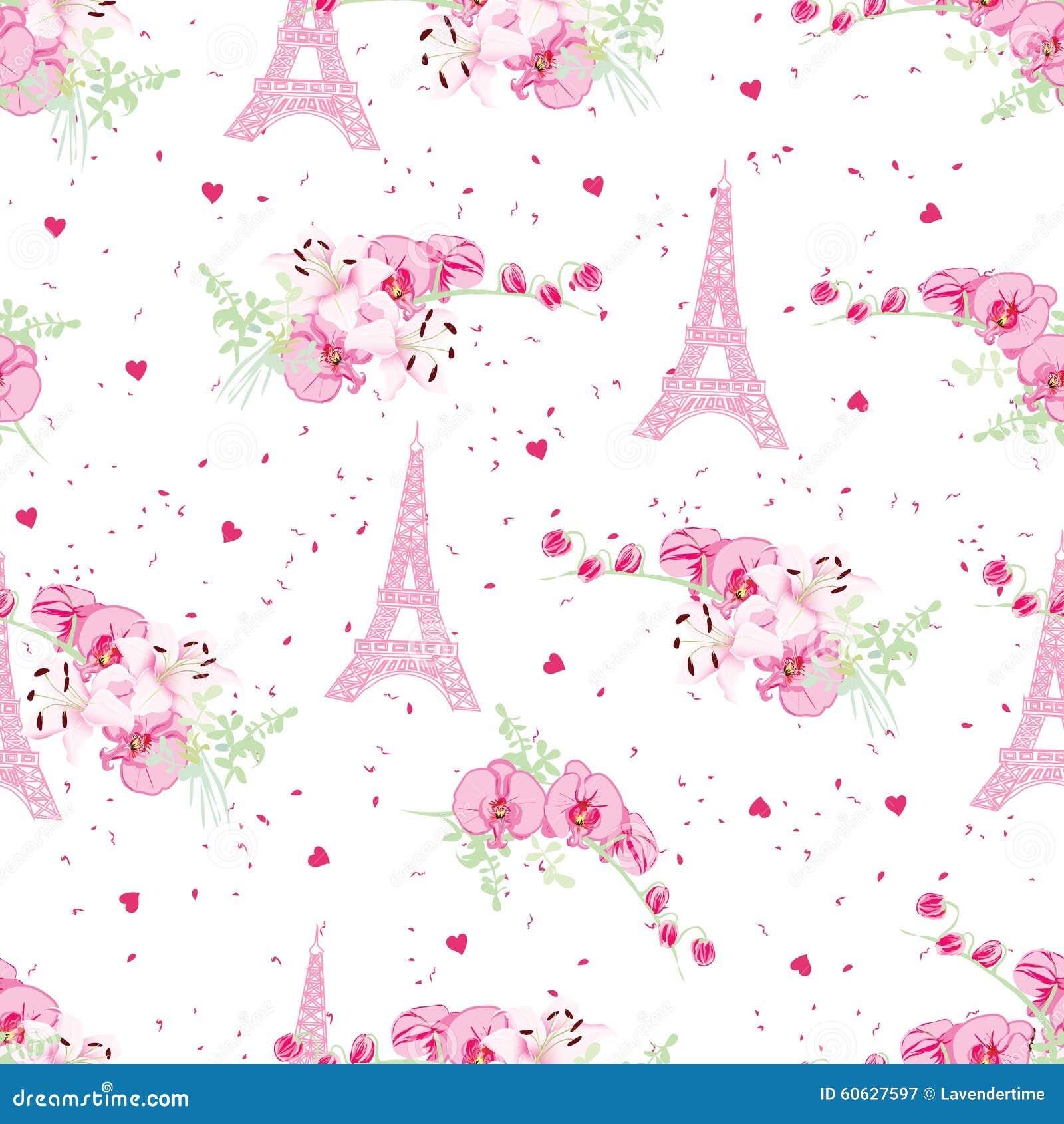 As Creation Pink Paris Pattern Eiffel Tower Childrens: Romantic Paris Seamless Vector Print Stock Vector