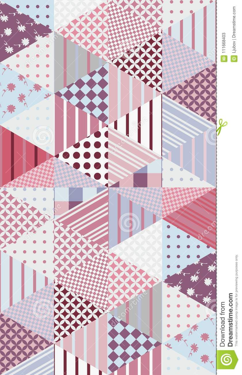 Romantic Patchwork Pattern Seamless Background Cute Vector Quilt