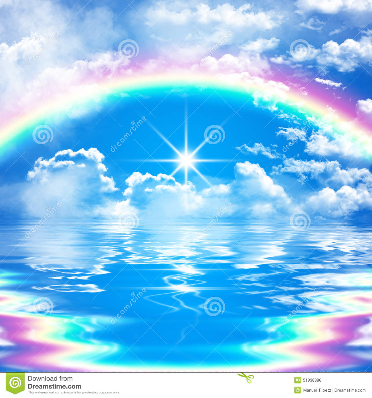 Romantic And Peaceful Seascape Scene With Rainbow On Cloudy Blue Sky Stock Illustration Image