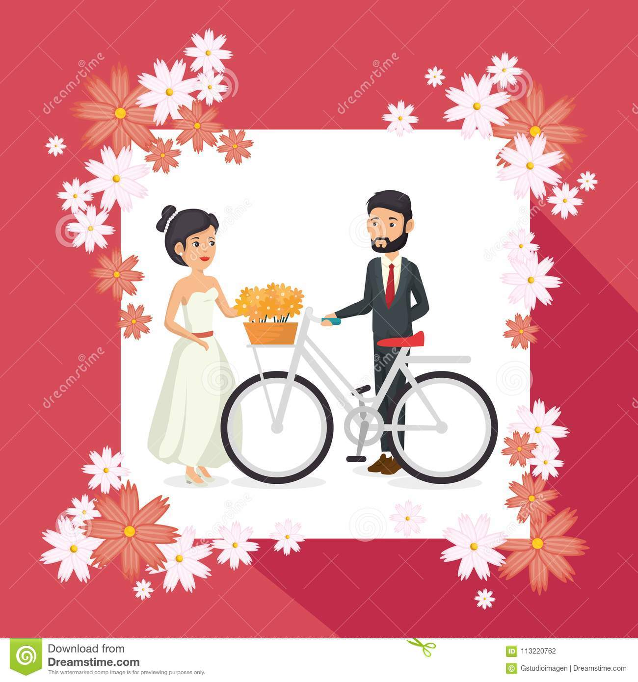 Romantic Picture Of Just Married Couple With Floral Frame Stock ...