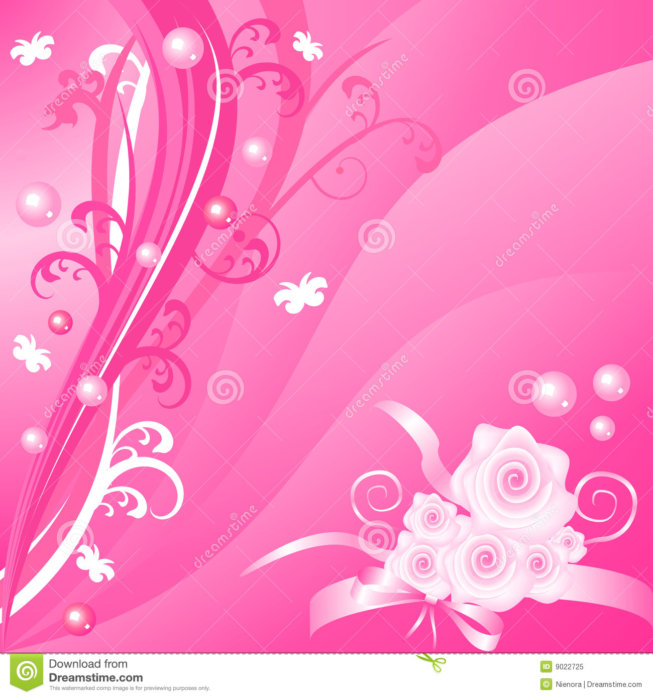 Romantic Pink Floral Vector Background With Roses Royalty