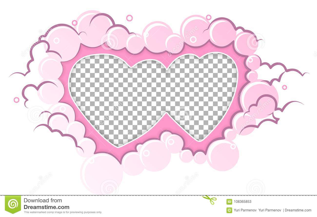 Romantic Pink Frame Hearts Template Wedding Card Valentines Day