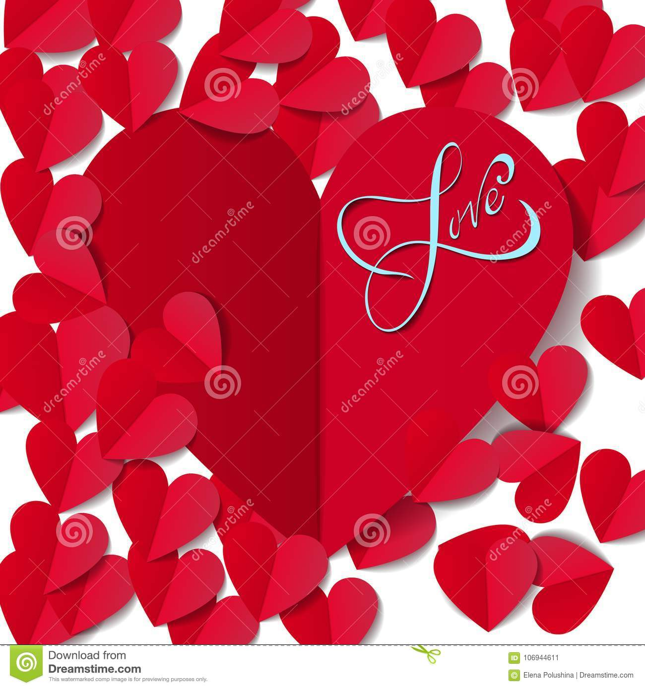 Romantic Red Heart Background Vector Illustration For Holiday