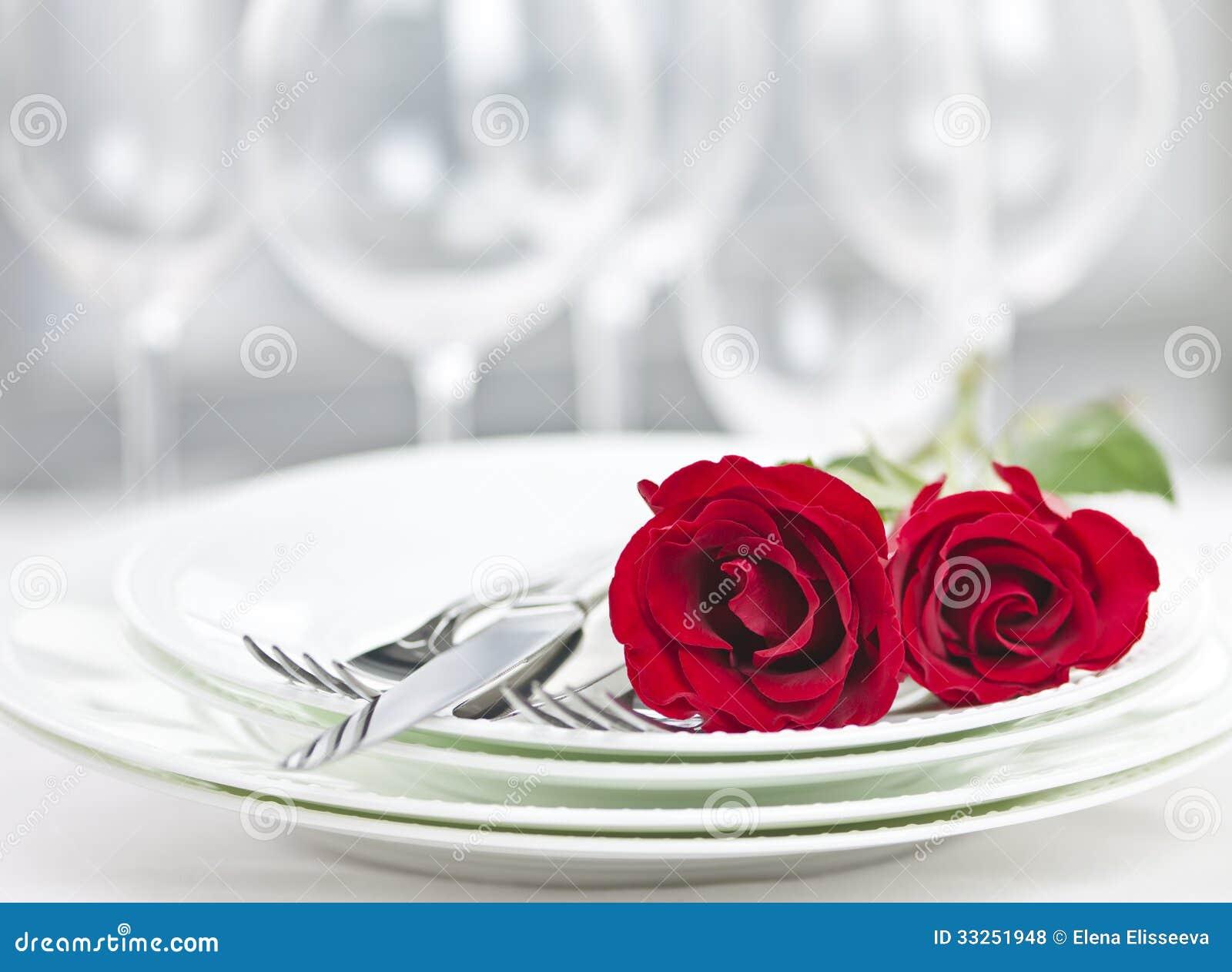 Romantic restaurant dinner setting stock photo image for Table for two