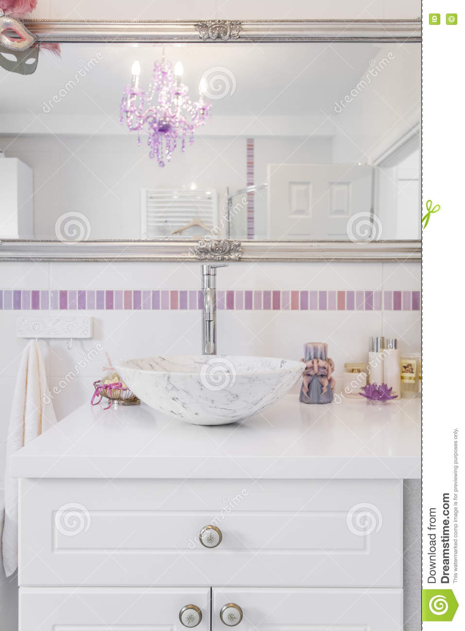Romantic retro bathroom stock image. Image of lamp, healthy - 78463391