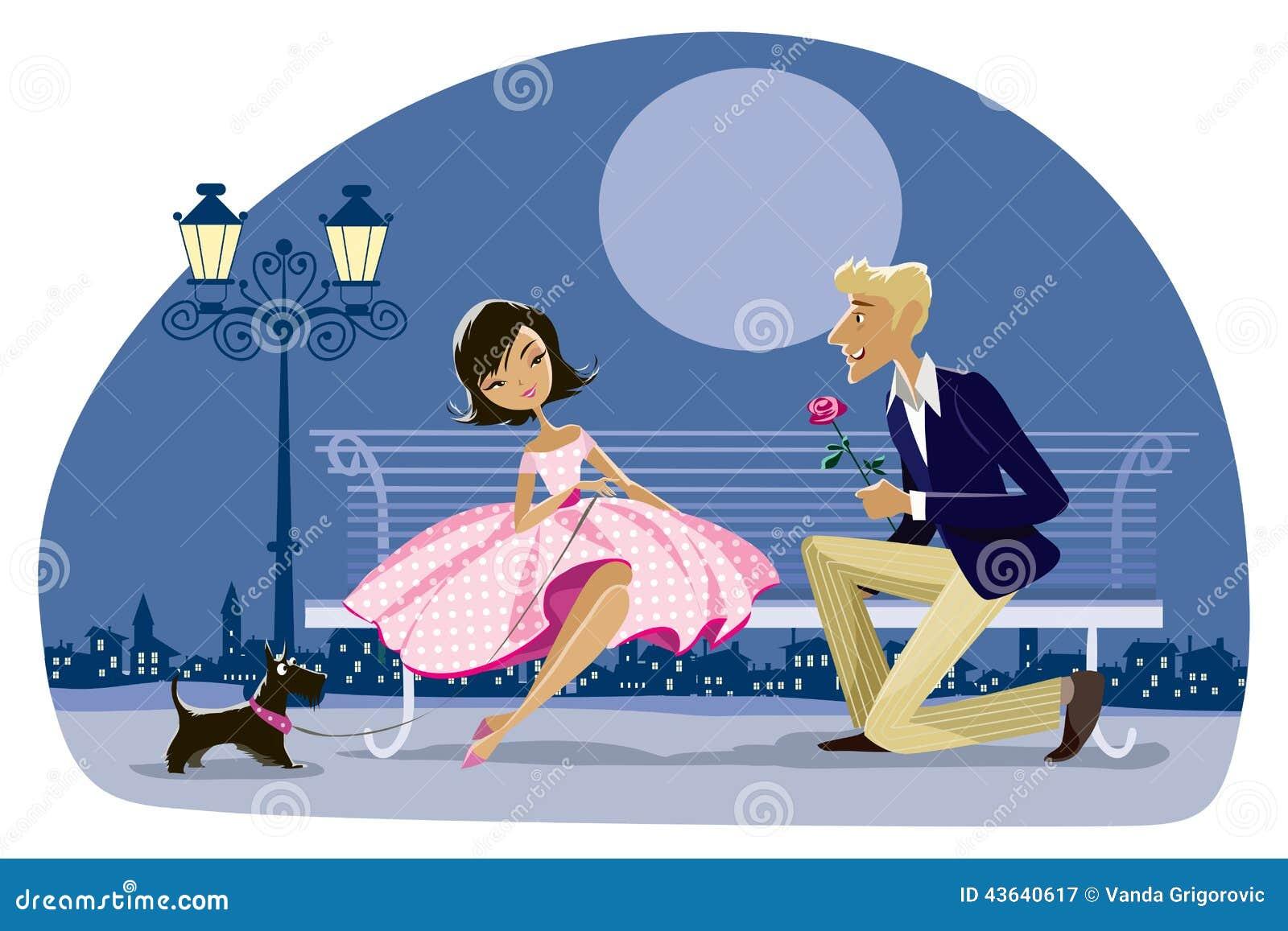 Romantic retro couple with a dog