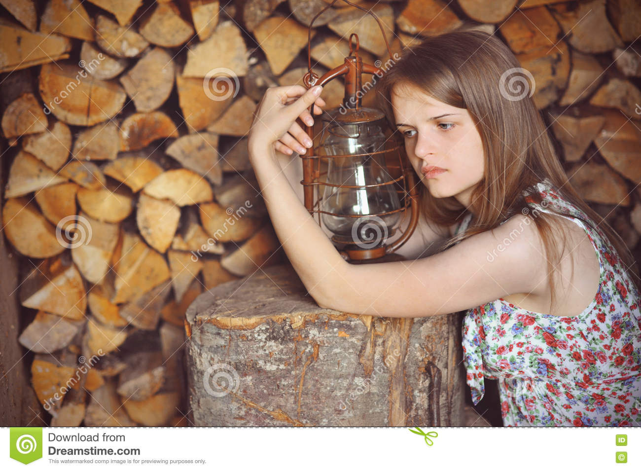 Romantic Sad Girl With A Gas Lamp Stock Photo - Image of long, house ... for sad girl with lamp  239wja