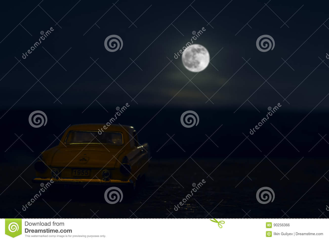 Romantic scene of old vintage car with couple inside and Moon on sky at night. Silhouette love and car on Full Moon Background. Se