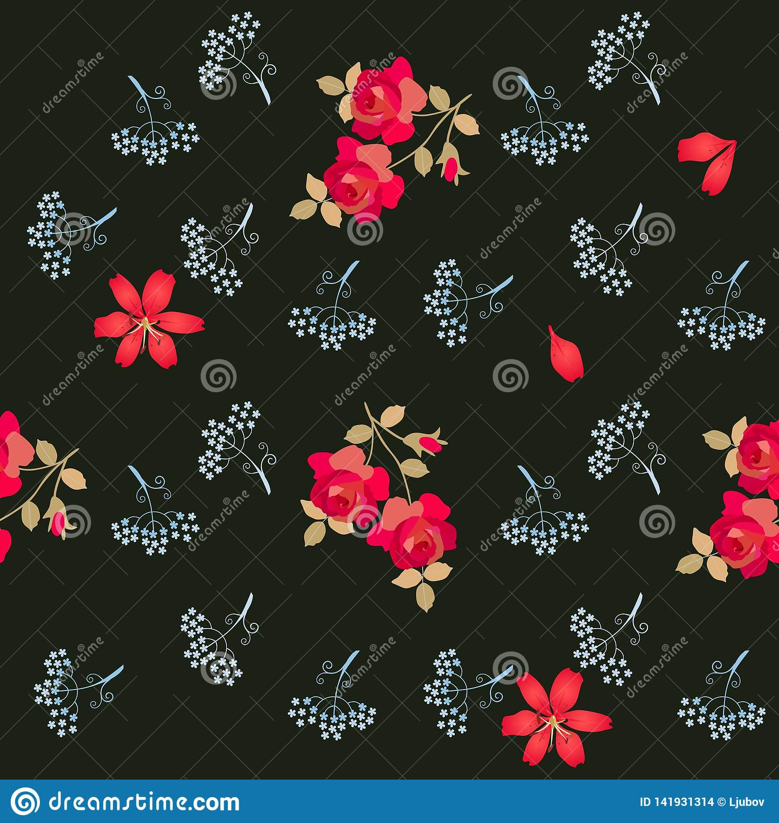 Romantic seamless floral pattern with stylized umbrella flowers, red roses and lilies isolated on black background in vector.