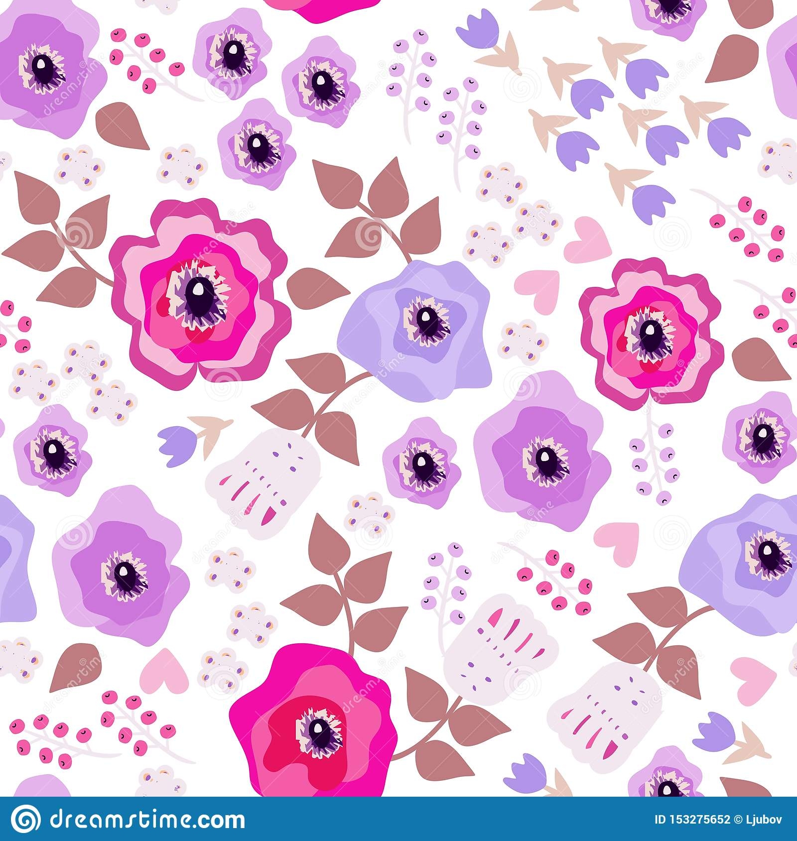 Romantic seamless pattern with flowers in folk style. Decorative floral ornament on white background