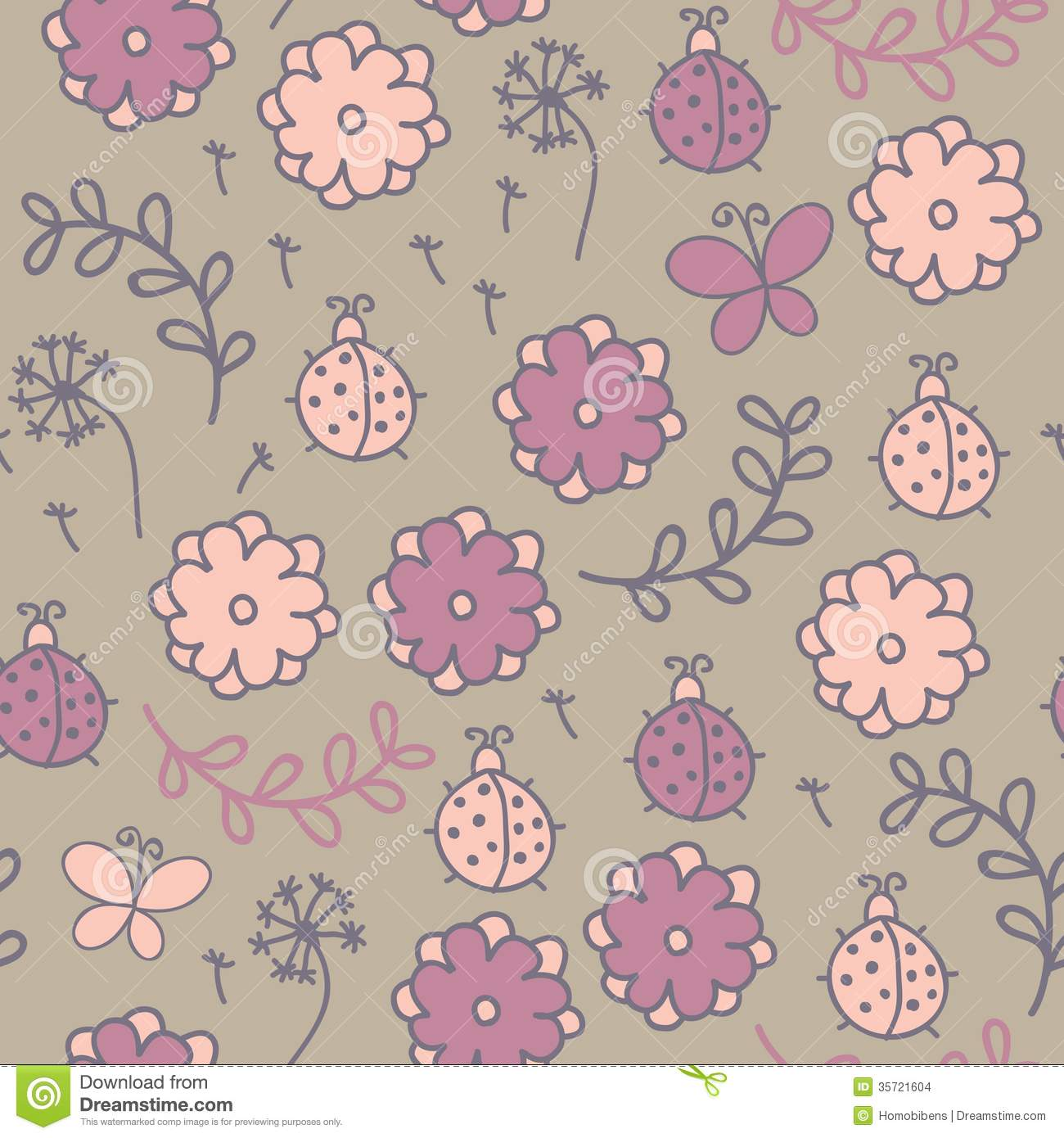 Romantic seamless pattern with ladybugs, flowers,
