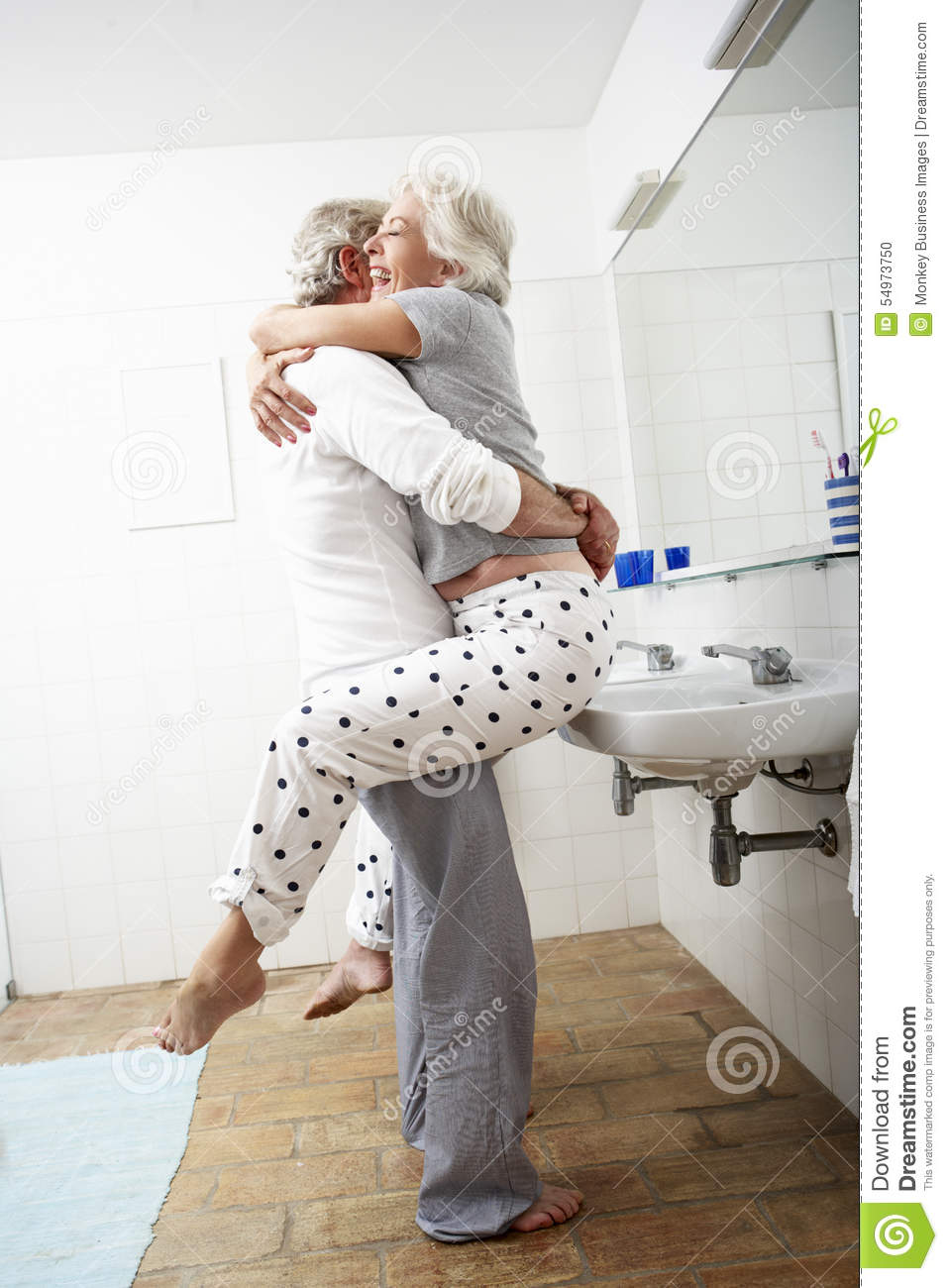 Romantic senior couple in bathroom stock photo image for Bathroom romance photos