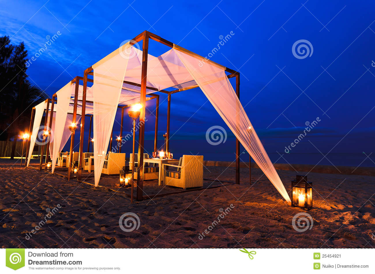 Romantic Set Up Dinner On The Beach Twilight Time Stock