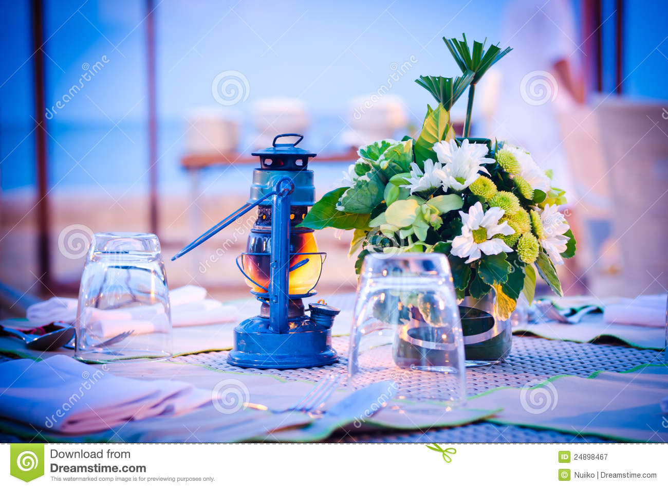 Romantic Set Up Dinner Table Set Stock Image Image Of