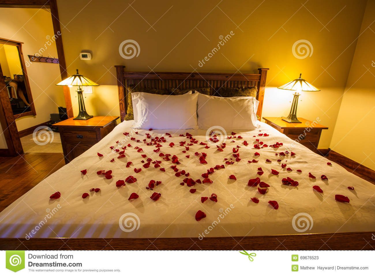 romantic bedroom rose petals