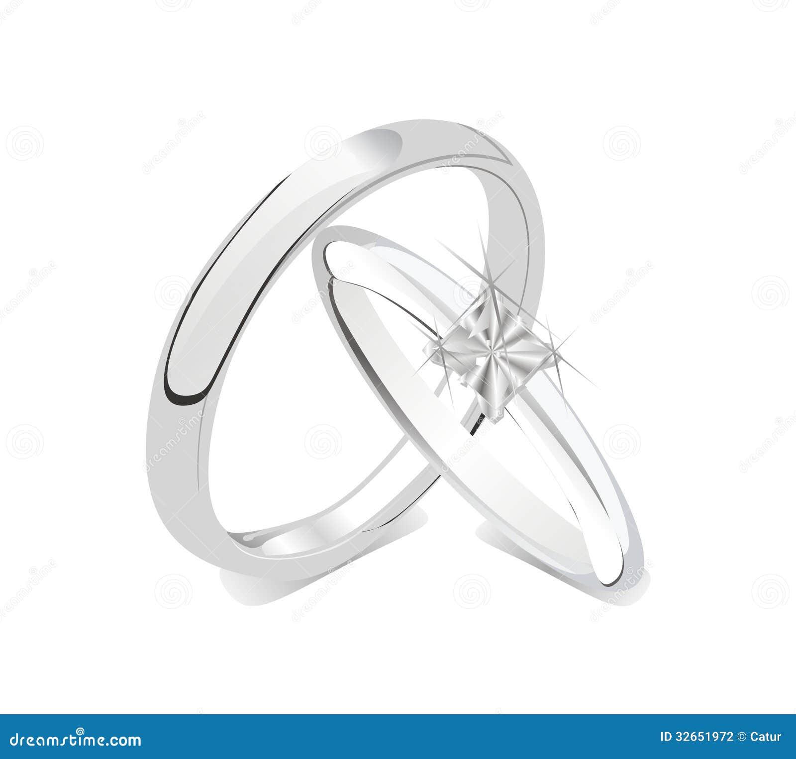 Couple Isolated Rings Romantic Shiny Wedding