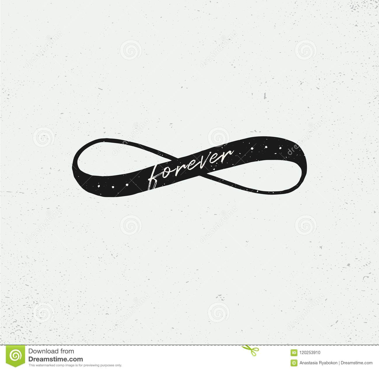 romantic sign of infinity hand drawn vector illustration word