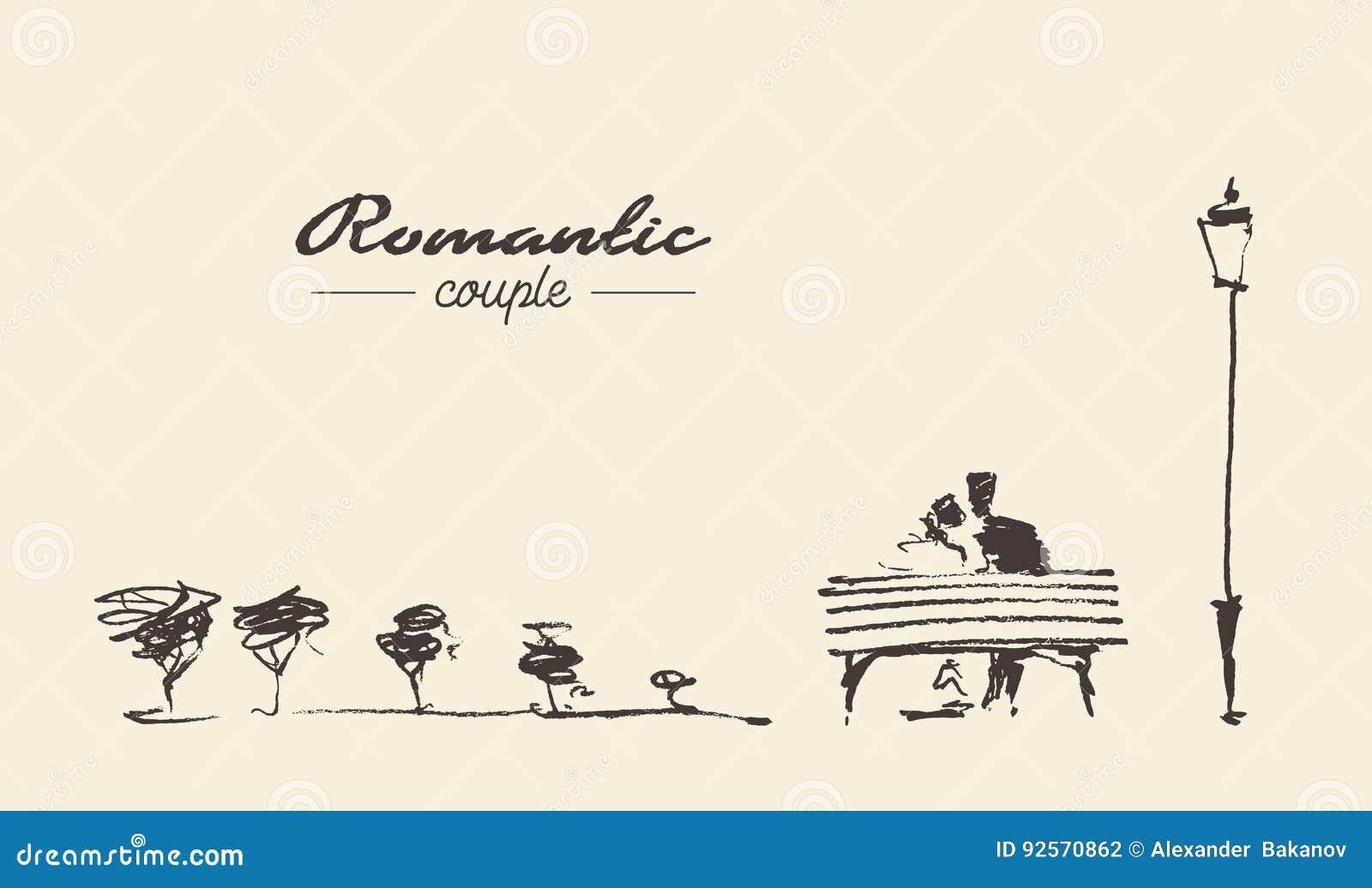 Romantic sketch loving couple bench drawn sketch