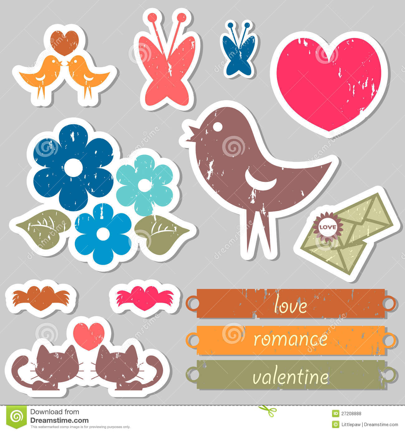 Romantic Stickers For Scrapbook Stock Vector Illustration Of Sweet