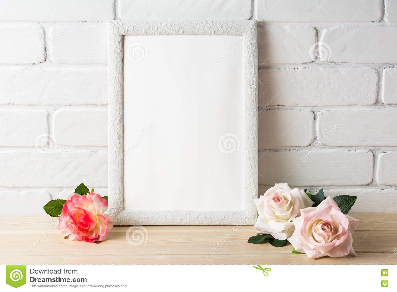 e1101f99efe9 Romantic Style White Frame Mockup With Roses Stock Photo - Image of ...