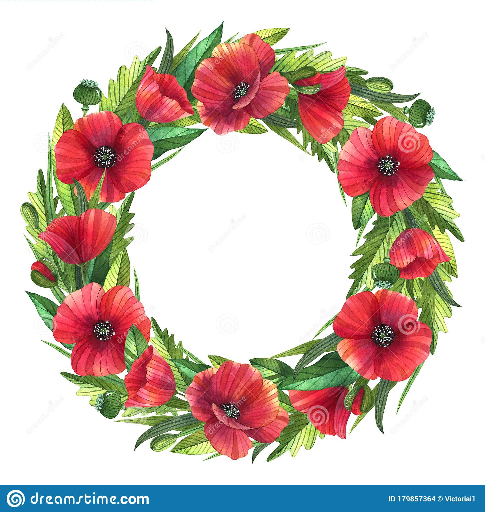 Romantic Summer Wreath With Red Poppies Stock Illustration Illustration Of Greeting Party 179857364