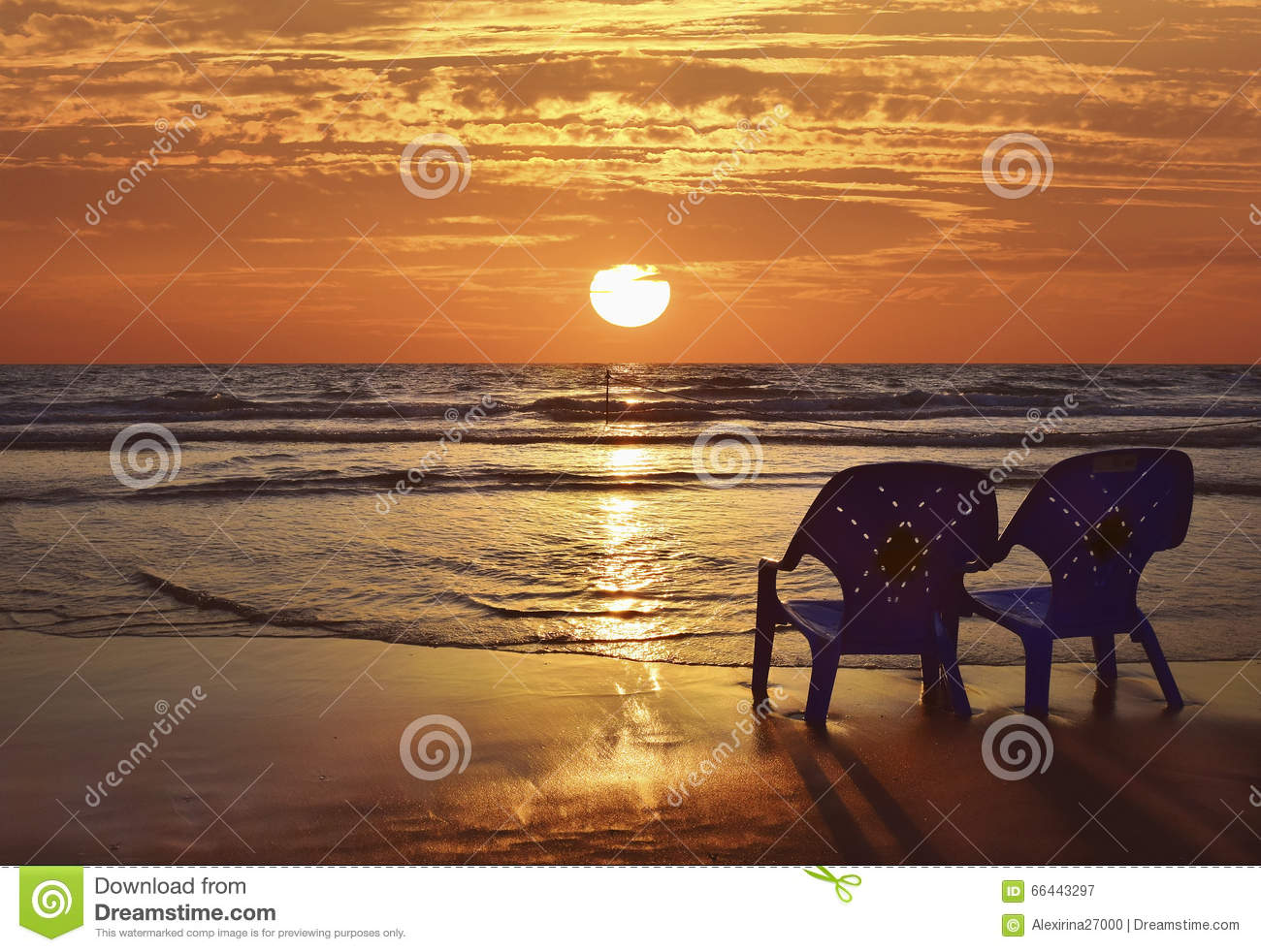Beach sunset with chairs - Romantic Sunset On The Mediterranean Sea