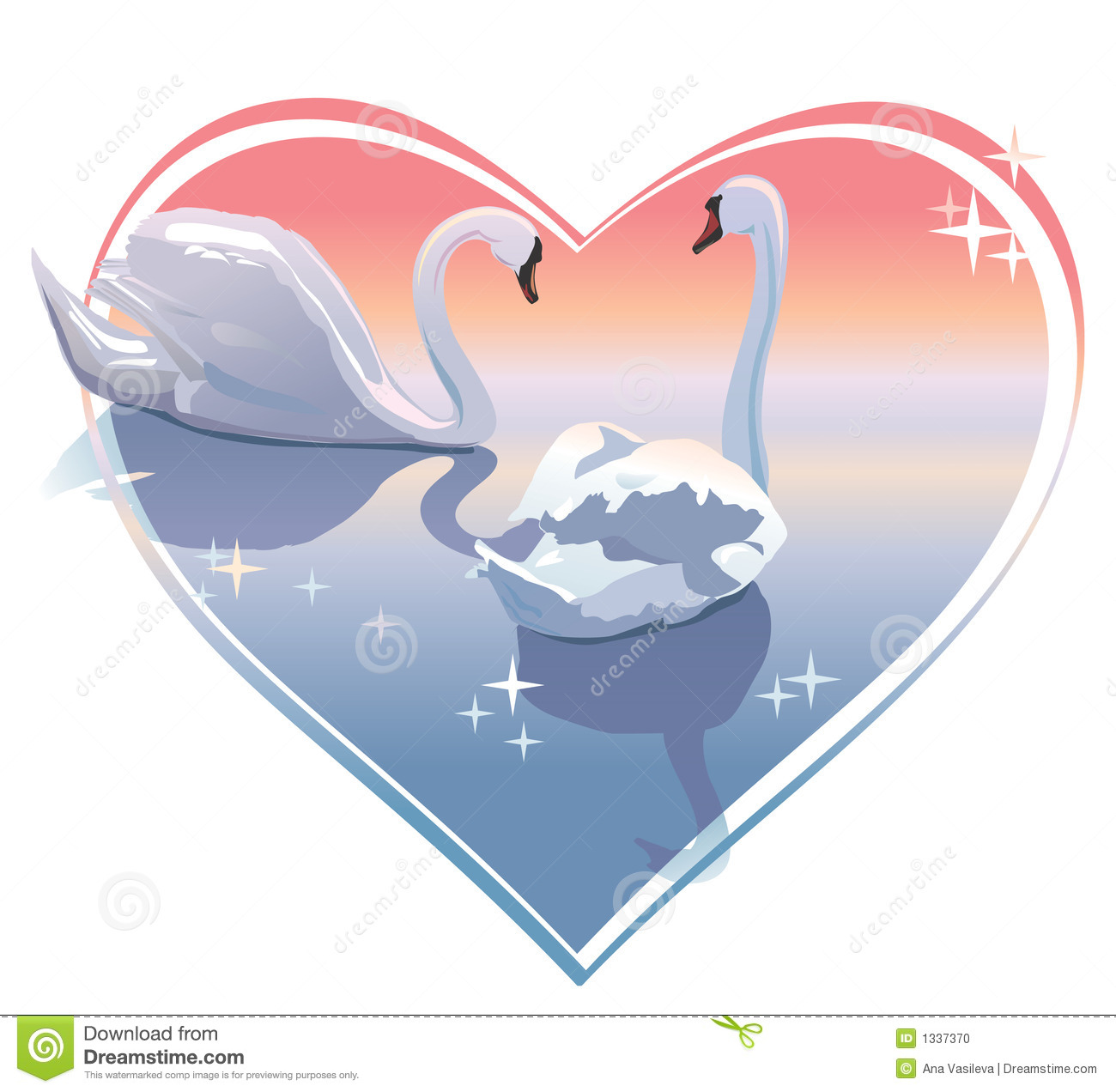 Romantic Swans Couple, Sunset In A Heart Shape. Vector ...