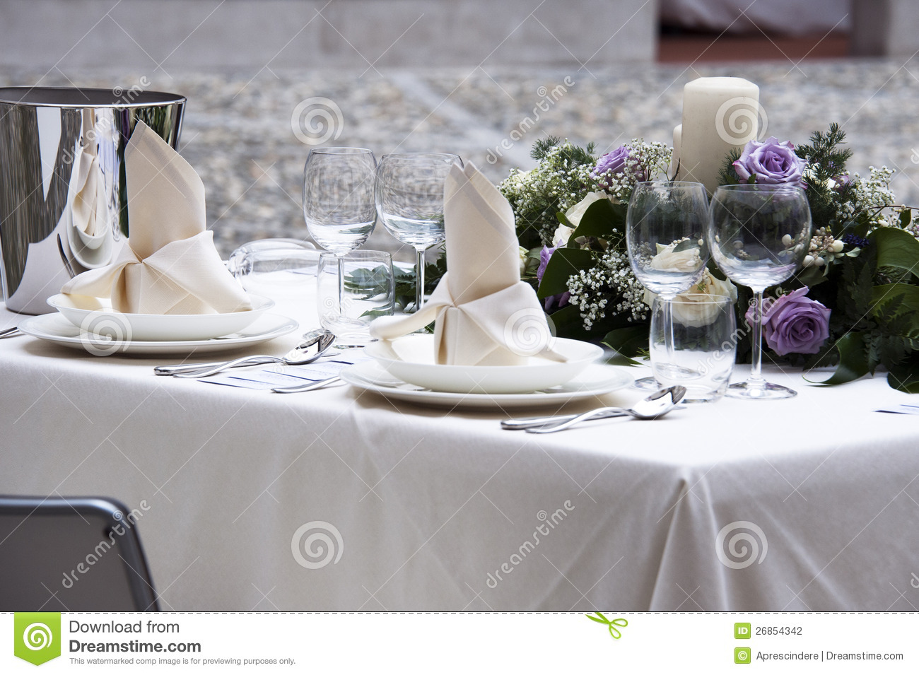 Table For 2 : Romantic table setting stock photo image of glass diner