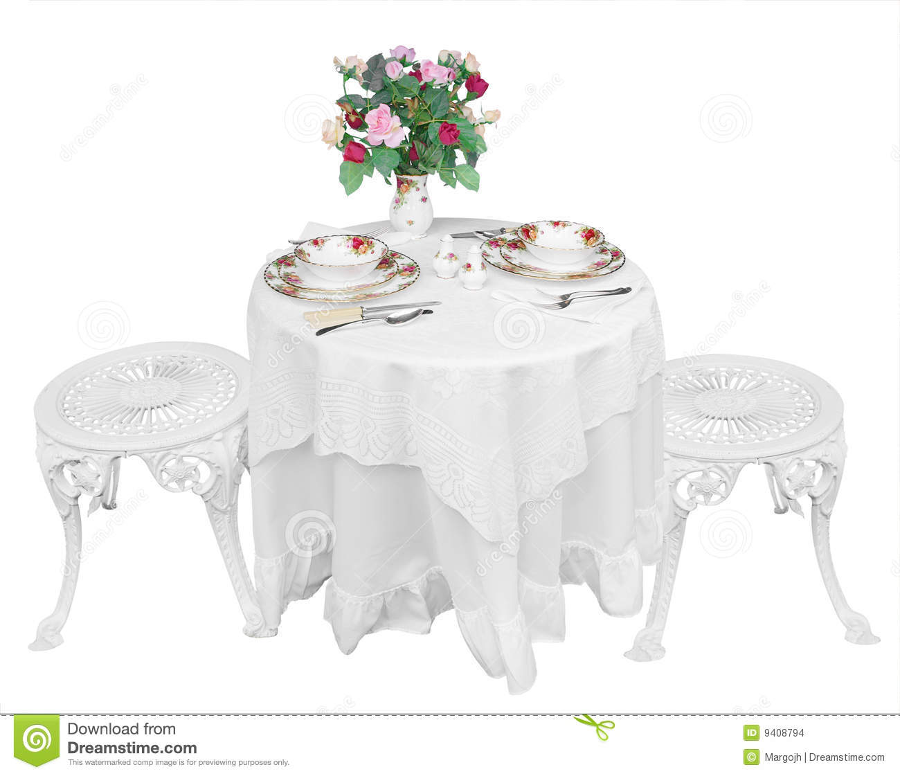 Romantic Table Setting For Two Stock Photo Image 9408794