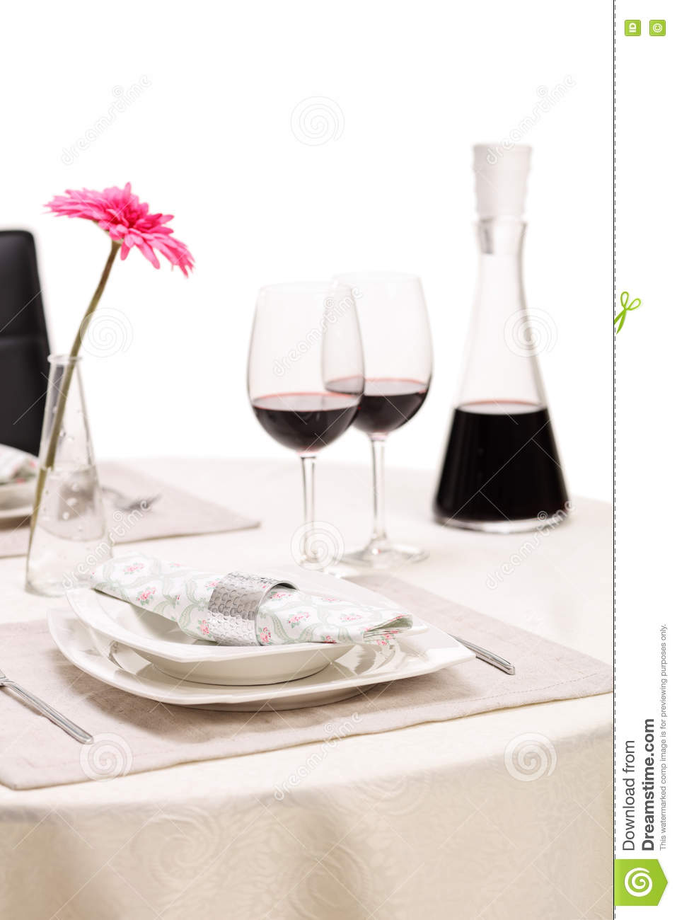 Romantic table with two glasses of wine