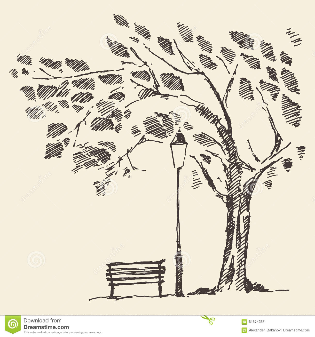 Romantic Tree With Bench Lantern Drawn Sketch Stock Vector