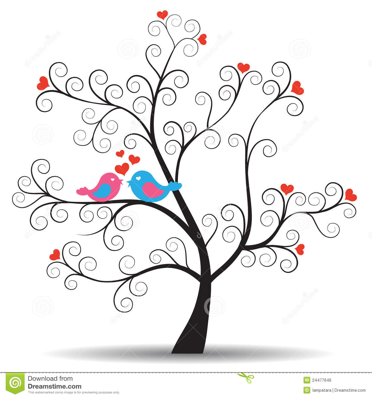 ... With Inlove Couple Birds Royalty Free Stock Image - Image: 24477646
