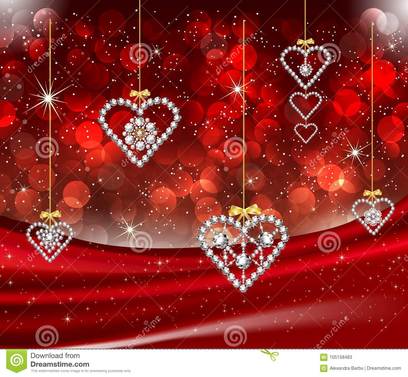 Romantic Valentine Diamond Hearts Red Background Stock Vector