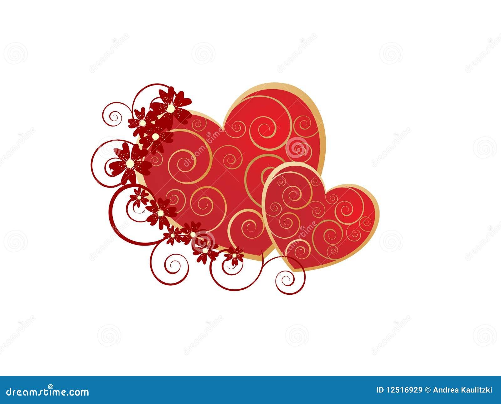 Romantic valentine hearts
