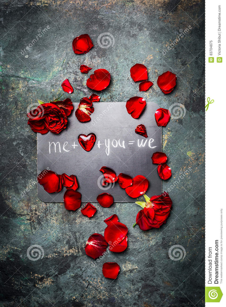 Romantic Valentines Day Card With Red Roses, Petal,heart And Text , Top View Stock Photo