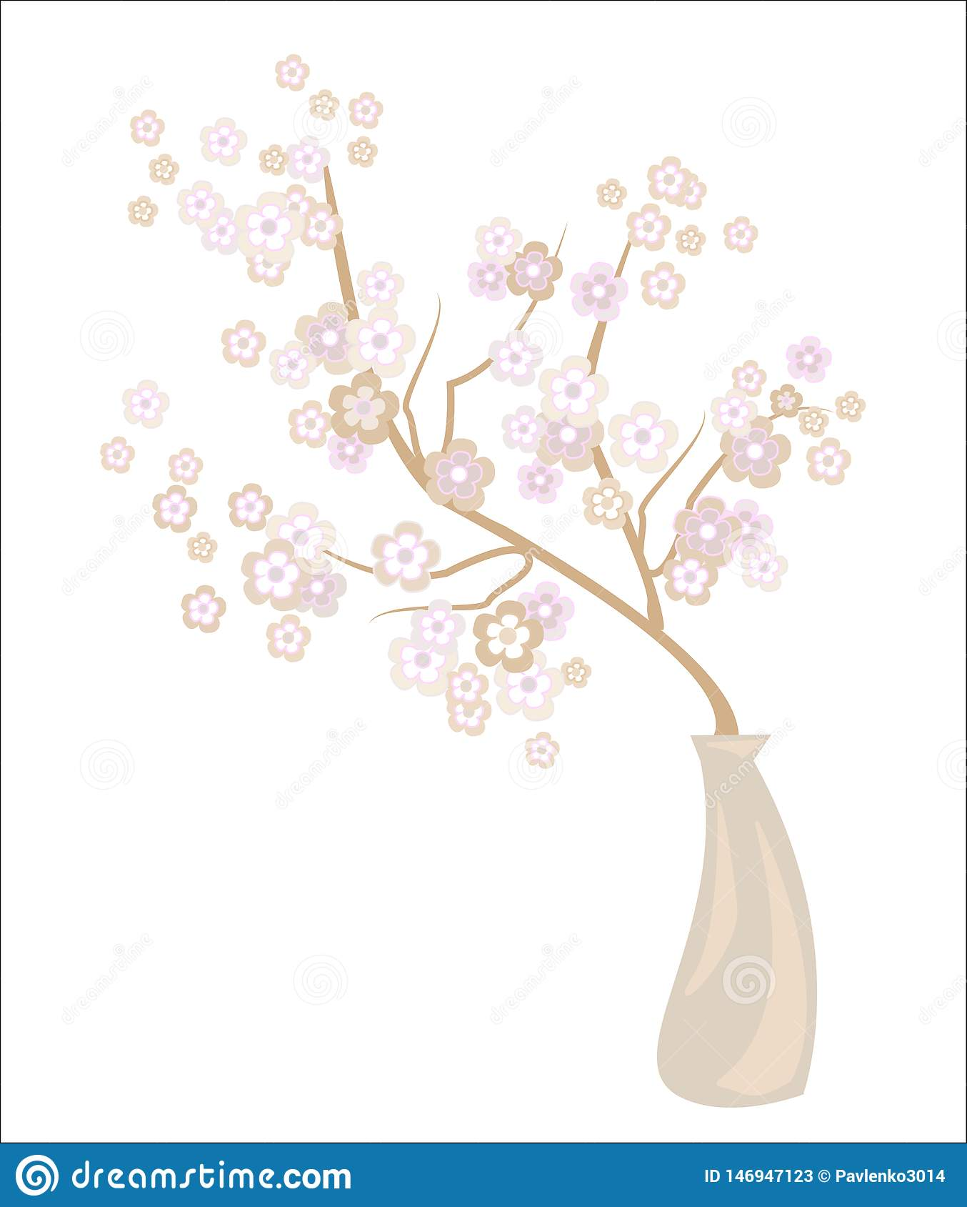 Romantic vase with a delicate cherry blossom. Exquisite petals and delicate floral fragrance. Decoration of a festive table and an