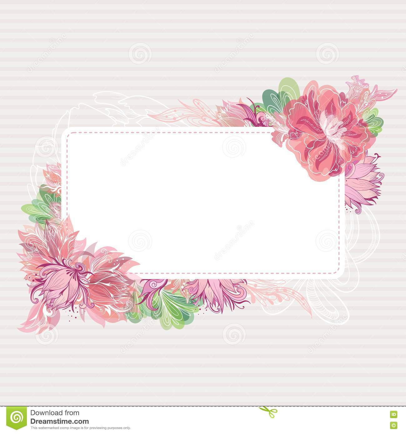 Romantic Vector Card Template With Floral Border Stock Vector - Illustration of romantic ...