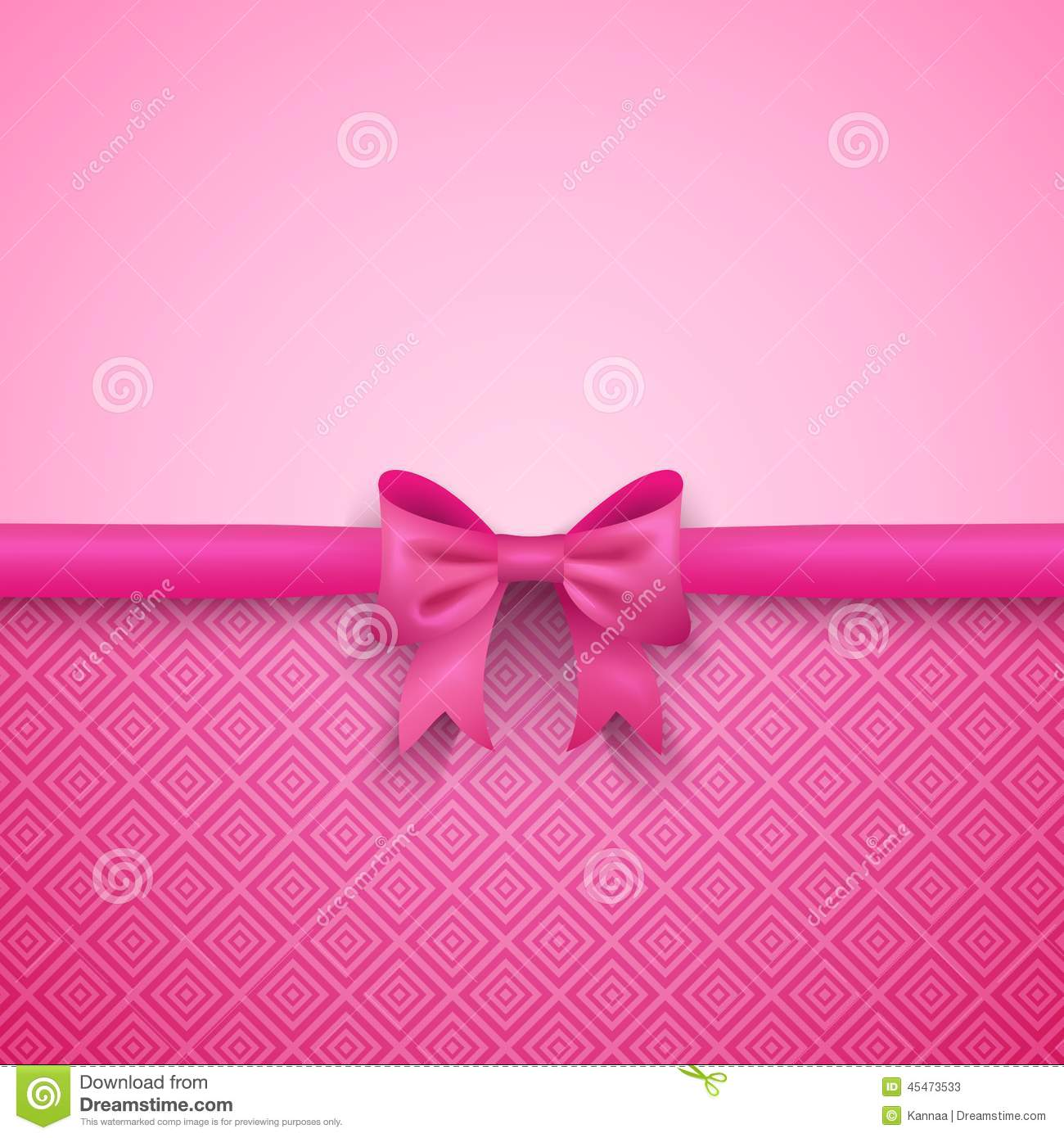 romantic vector pink background with cute bow and stock illustration