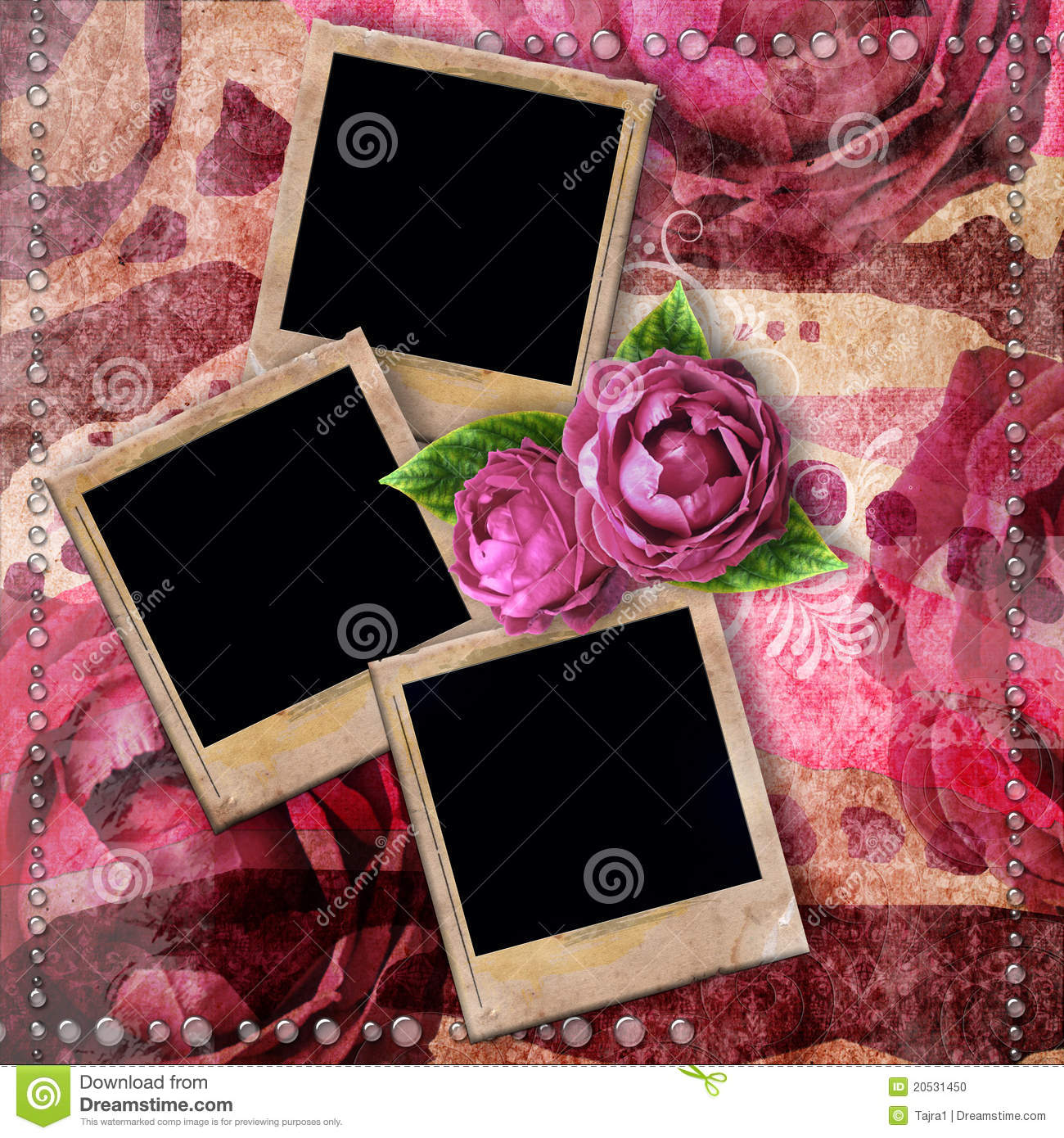 romantic vintage background with frames
