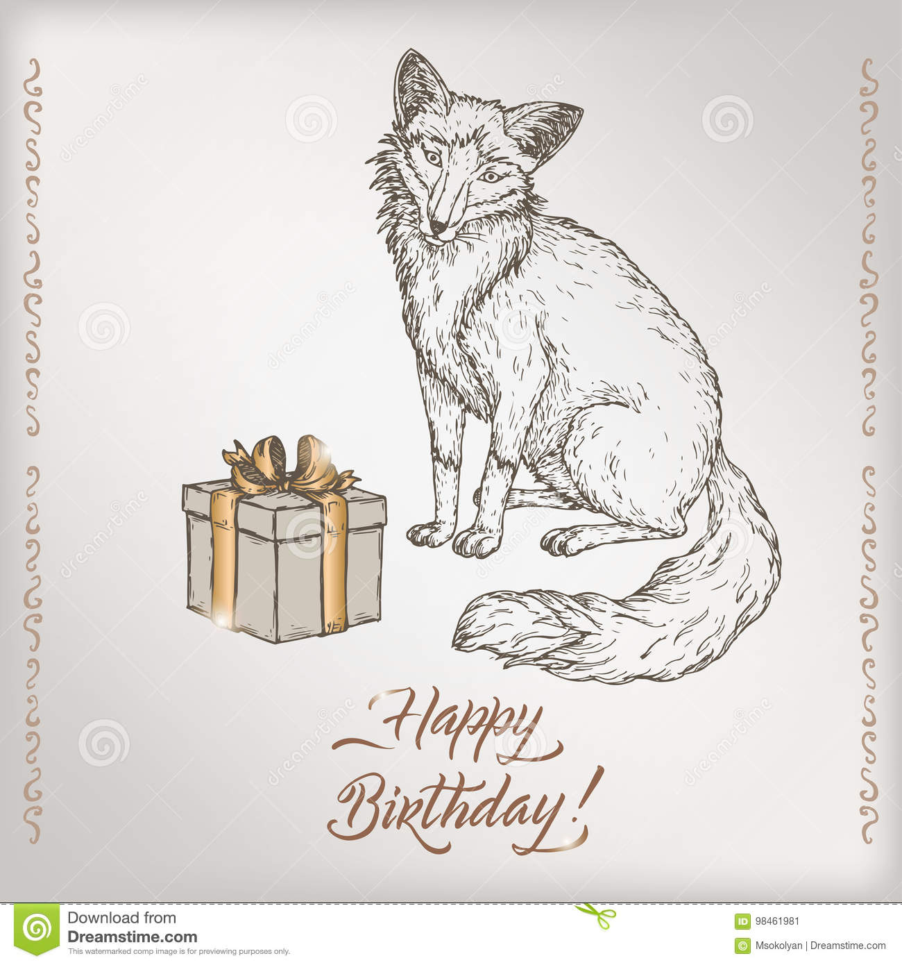 romantic vintage birthday card template with calligraphy fox and