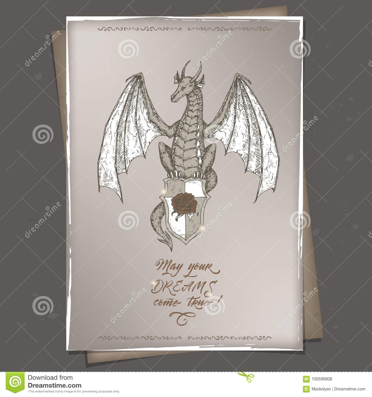 Romantic Vintage A4 Format Birthday Card Template With Calligraphy And Dragon Sketch