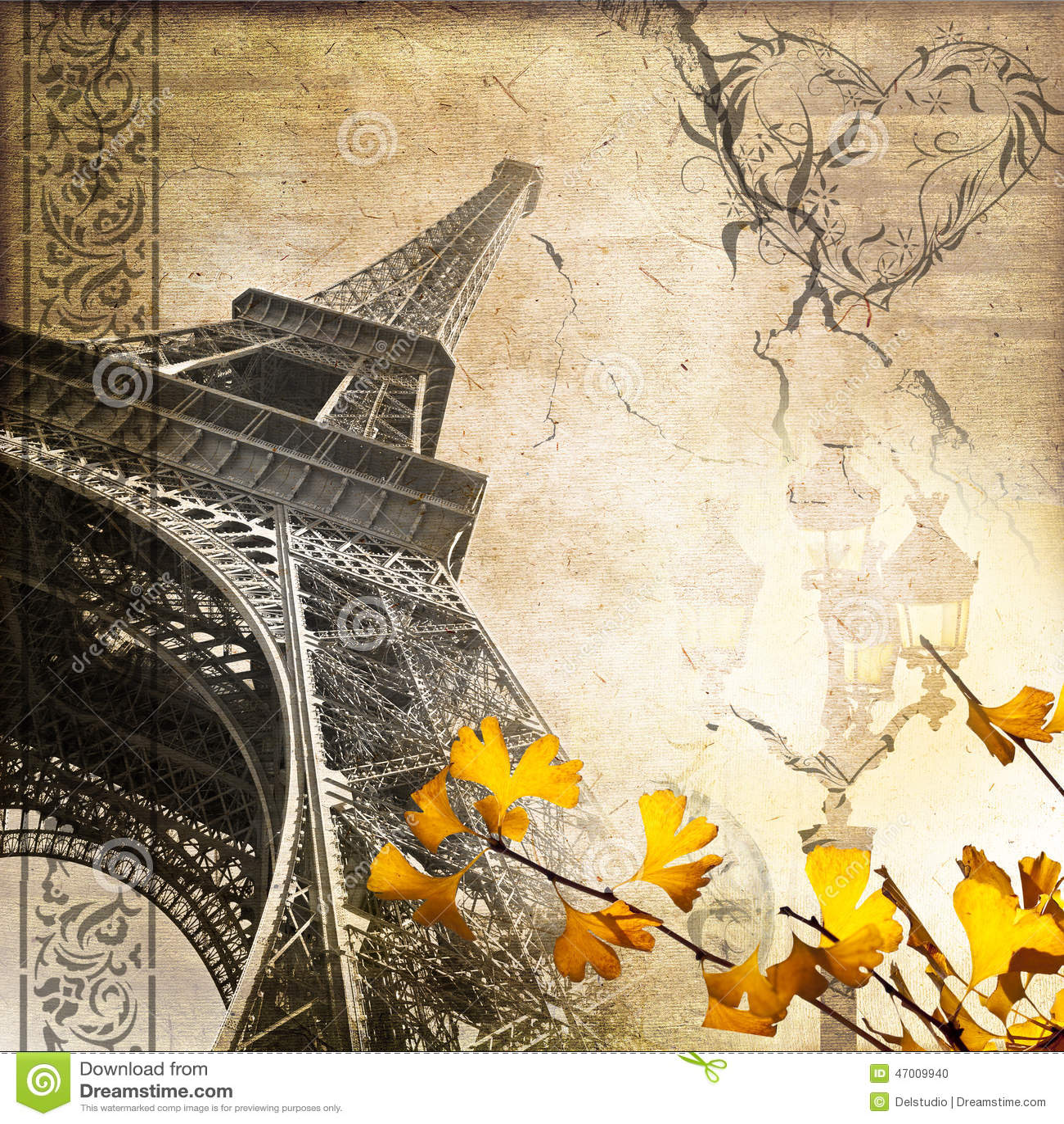 ... Vintage Paris Collage Eiffel Tower Stock Photo - Image: 47009940