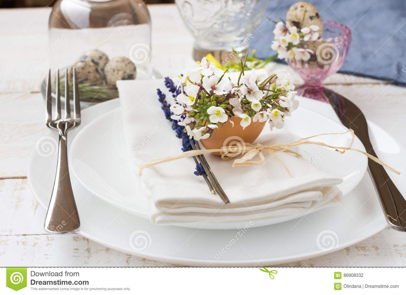 Irish Table Settings Wedding Or Easter Border Orchids And Ivy Royalty Free Stock Photo