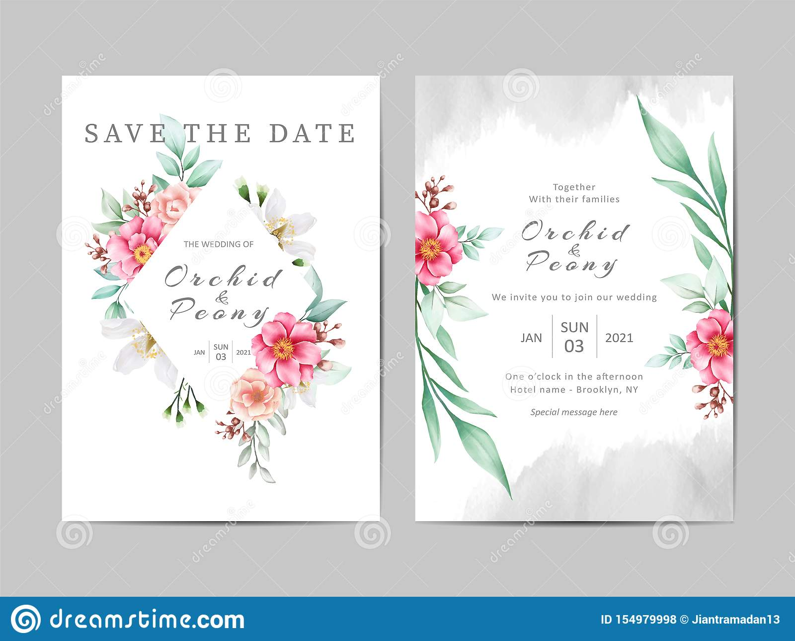 Romantic Wedding Invitation Template Cards Set Of Floral And Watercolor Background Stock Vector Illustration Of Autumn Natural 154979998