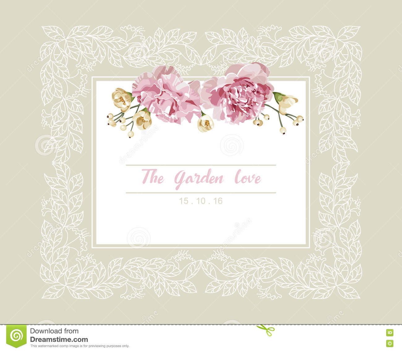 Romantic Wedding Invitation Vintage Card With Pink And Yellow