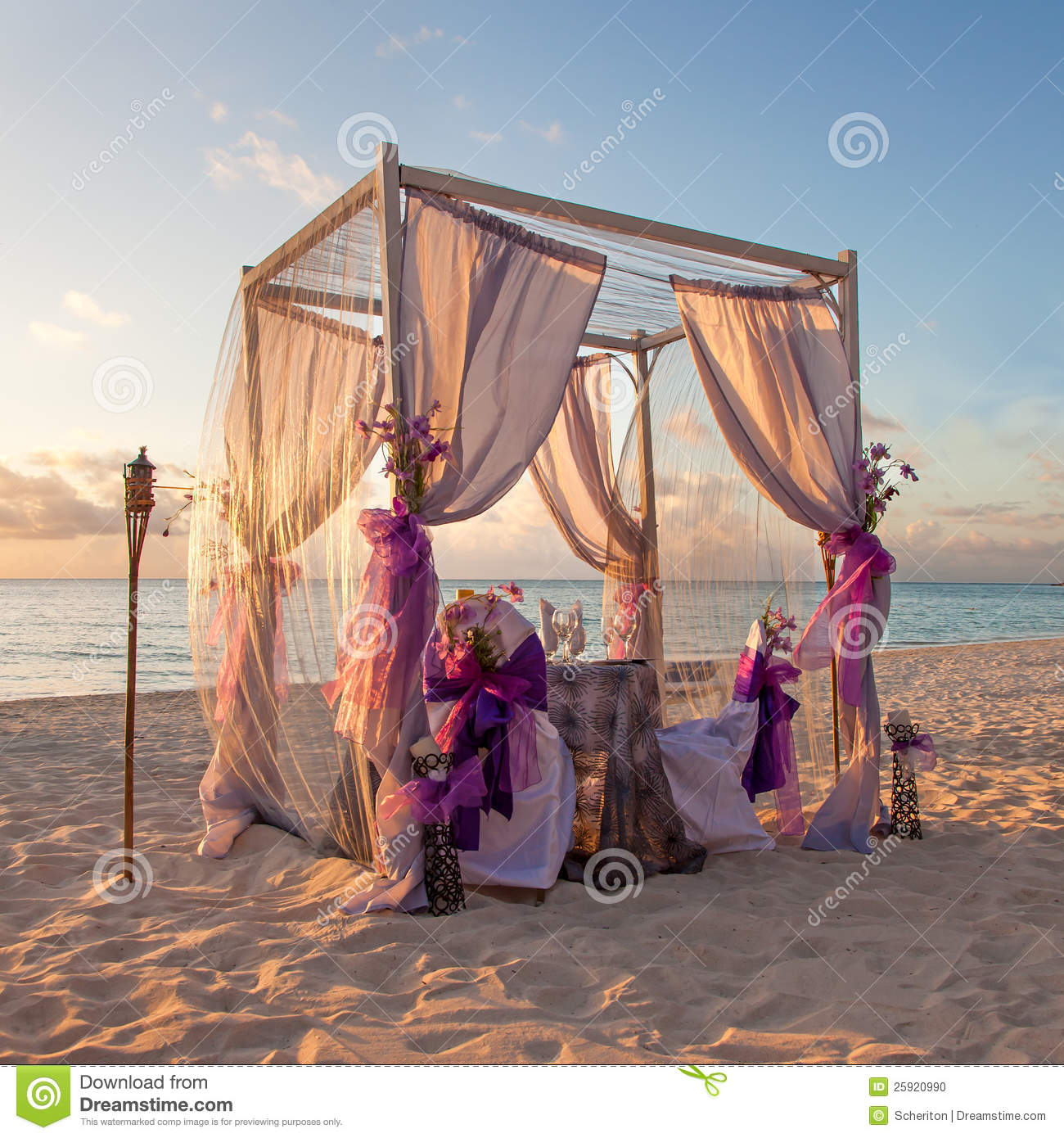 Romantic Wedding Table On Tropical Caribbean Beach
