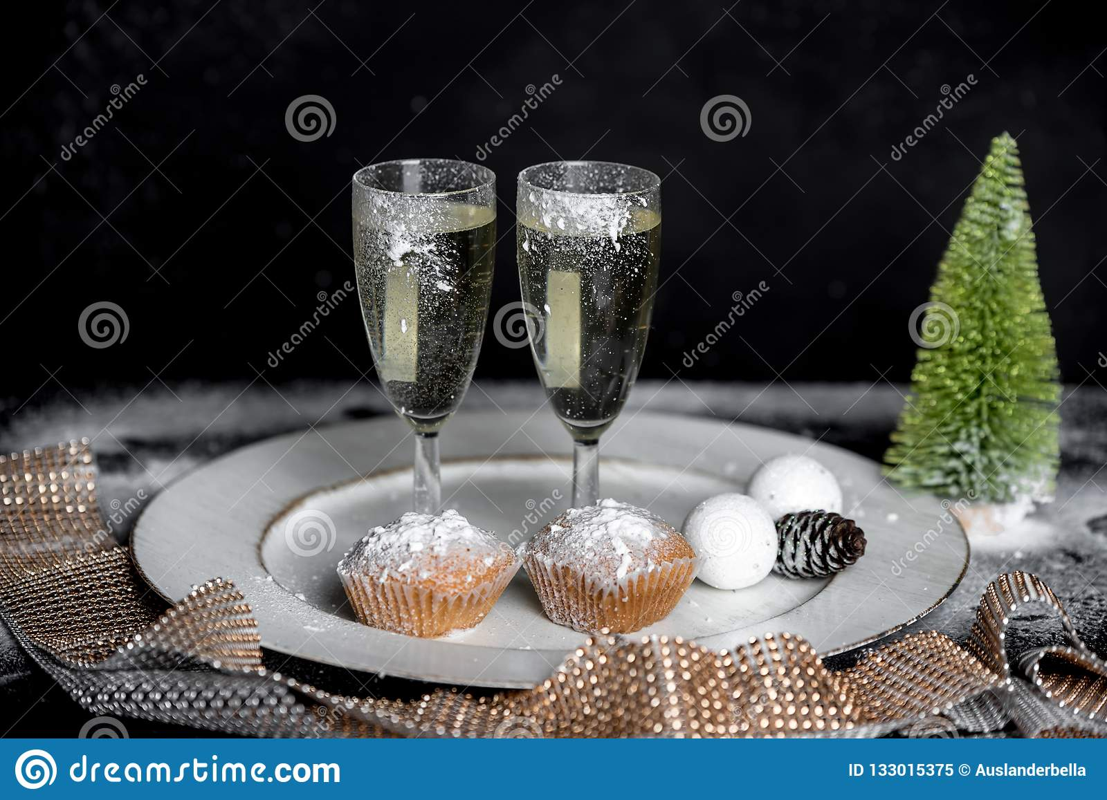 Romantic winter Evening with champagne for two