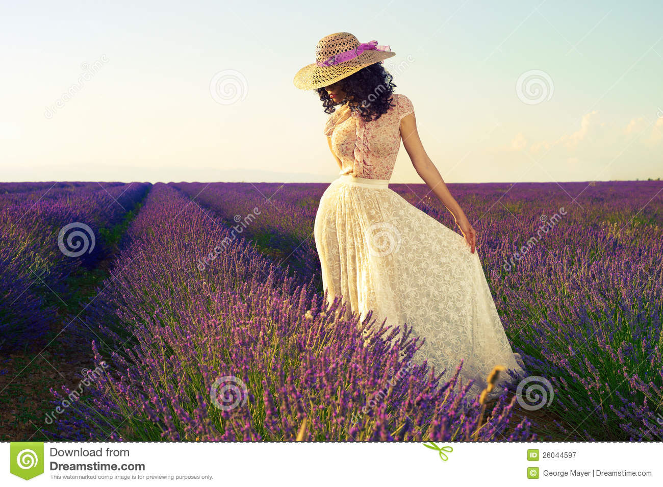 Romantic Woman In Fairy Lavender Fields Royalty Free Stock